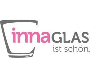 Petit vase / bougeoir KEA avec rainures verticales, en verre, transparent, 20,5cm, Ø14cm