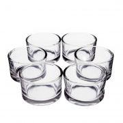 6x Petit photophore rond / porte-bougie TAMIO, transparent, 3,5cm, Ø 5cm